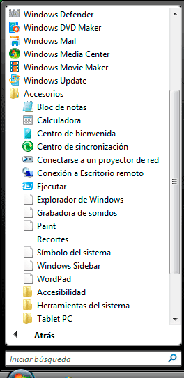programas accesorios de Windows